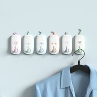 крюк для ванной оптовых-Cartoon Wall Hooks Multi-purpose Self Adhesive Home Kitchen Door Hook Hanger Coat Key Holder Bathroom Storage Rack Organization