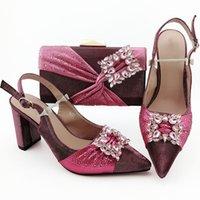zapatos a juego bolsas marrón al por mayor-las mujeres manera marrón rosado y vestido de los zapatos del bolso partido con el patrón de cristal africana bombas y conjunto de bolsas QSL011, 9 cm del talón
