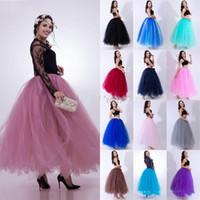 uzun katmanlı tutu toptan satış-Sıcak Satış 3 Katmanlar 100cm Yaz Uzun Tül Etek Moda Pileli TUTU Etek Kadın Lolita Petticoat Nedimeler Elbise CPA836