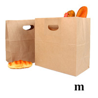 Wholesale eco friendly tote bags for sale - Group buy 28cm cm x28 cm biodegradable eco friendly food grade packaging tote handle brown die cut baguette kraft paper bread bag