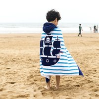 usando toalha de praia venda por atacado-Womens beach towel Toalhas de banho Um formaldeído-livre as crianças podem usar algodão com capuz manto 127 * 76 cm de comprimento Animal impressão