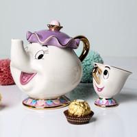 té uno al por mayor-De dibujos animados de la venta caliente bestia Belleza de la tetera Taza señora Potts viruta del pote del té de una taza Conjunto del bonito regalo de Navidad libera el envío