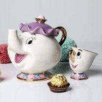 Wholesale mugs sale resale online - Hot Sale Cartoon Beauty Beast Teapot Mug Mrs Potts Chip Tea Pot Cup One Set Nice Christmas Gift
