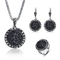 ingrosso collana di resina nera-Set di gioielli in argento di moda vintage nero di gioielli di moda set di gioielli in argento antico
