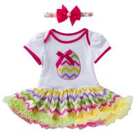 neue ankunftsbabyausstattung großhandel-Kleinkind Neugeborenes Baby Prinzessin Ostereier Brief Tutu Kleid Outfits Set Neue Ankunft Dropshipping
