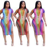 weiße noble kleider großhandel-Freies Schiff 2019 Neue Frauen Sexy Hallow Out Mesh Kleid Side Split Mini Kleider Club Party Wear Vestidos