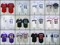 mens knopf unten großhandel-Hochwertige Herren 51 Randy Johnson Baseball-Trikots Home Away Road Bestickte günstige Stitched Button Down-Trikots S-XXXL