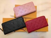 geprägte frauen brieftaschen großhandel-Geprägte schwarze Geldbörse Modedesigner Clutch Echtes Leder Lange Herren Damen Geldbörse mit oranger Box