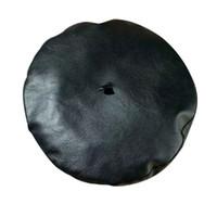 boinas de piel de mujer al por mayor-Boina mujer otoño / invierno coreano / japonés serie PU sombrero de piel de yema moda europea / americana / sombrero de pintor de arte británico
