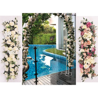 ingrosso decorazioni di arco-ROSE QUEEN 100cm seta artificiale fiore rosa fila di nozze fai da te guida su strada arco decorazione fiore artificiale puntelli di studio di apertura