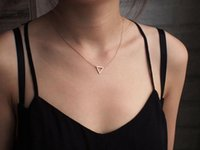 Wholesale simple small necklace resale online - small hollow triangle pendant necklace triangle Geometric hexagon necklace simple polygon geometry V shape Mathematics