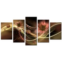 ingrosso decorazioni di giglio-Senza cornice 5 pezzi astratta nastro giglio tela wall art immagine stampe floreali su tela dipinto opere d'arte per soggiorno decorazione domestica