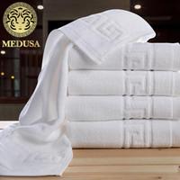 use toalha comprimida venda por atacado-Medusa egípcio algodão sólido fio tingido dobby great wall banho / rosto toalha 3 pcs set para casa / stars hotel
