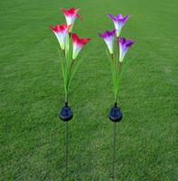 calla lilie licht großhandel-3 Solar Lily Lichter Calla Lily LED Simulation Lichter Outdoor dekorative Rasen Lichter 3 Lily Flower Light 4pcs