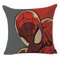 Wholesale series chair resale online - Cartoon Series Cushion Cover Spider Man Captain Square Pillow Case Linen Car Sofa Chair Home Decor