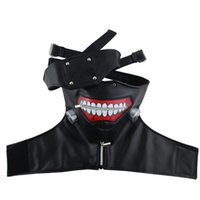 Wholesale cosplay material for sale - Group buy Cool White Black Color Tokyo Ghoul Half Face Mask Halloween Party Masquerade Cosplay Masks PU Material With Adjustable Zipper