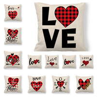Wholesale coffee cushion covers resale online - 12 style Valentine s Day pillowcase office cushion cover coffee shop pillow cover decoration Valentine s Day decorations T2I5749