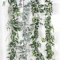поддельный цветок лист оптовых-Искусственный Ivy Green Leaf Garland растения Vine Поддельный Листва Цветы Сад Листья Декор Поддельный Rattan Струнный Grass Cactus