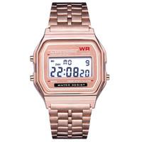 часы для женщин серебристый оптовых-Мода F-91 W женщины мужчины светодиодные часы ультра-тонкий золотой серебряный браслет светодиодные спортивные часы многофункциональный металл электронные 91 F91w часы