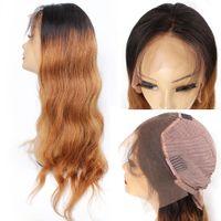 ingrosso tinto tessuto brasiliano tinto-KISS HAIR T1B / 30 body wave 4 * 13 parrucca frontale in pizzo pre-tinto 2 colori remy dei capelli umani parrucca indiana brasiliana dei capelli