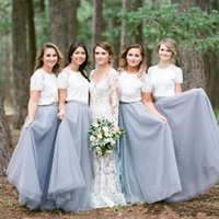 Wholesale tulle bridesmaid wedding dresses sleeves online - 2019 Elegant Two Pieces Country Bridesmaid Dresses Jewel Lace Tulle Beach Maid Of Honor Dress Wedding Guest Party Gowns Long Cheap