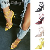 Wholesale factory price sandals resale online - Reduce the price Factory direct supply of cross border trade explosive sandals new type of pointed cross strap high heeled shoes size y