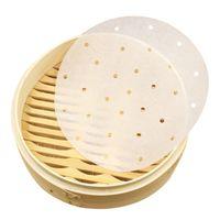sebze kapları toptan satış-Pişirme Pan Gömlekleri Bambu Vapur Buharda Kağıt Silikon Yayın Kağıt Sebze Dim Sum Pot Vapur