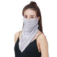 neue weibliche maske großhandel-New Female Neck Atmungsaktive Maske Vollgesichts Anti-UV Ice Silk Sonnenschutzmaske Outdoor Half Windproof Staubdicht Visier Schal