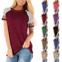 hamile kıyafetler toptan satış-Hamile Çizgili Tees Hemşirelik Kısa leopar Kol Yuvarlak Yaka Bluz T Shirt Giyim Casual Annelik Giysiler M859 Tops