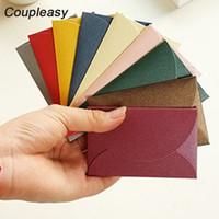Wholesale kraft paper mini envelopes resale online - 100Pcs x9cm Kraft Paper Envelopes Mini Vintage Envelope Greeting Cards Envelope Cute Retro Envelopes Colors