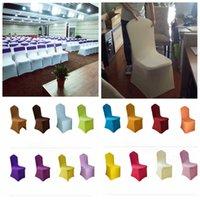 ingrosso poltrona da cerimonia nuziale-19styles Wedding Chair Covers solida poliestere Spandex per matrimoni Banchetti decorazione dell'hotel accessori per coperture elastiche sedia FFA3658