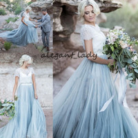 Wholesale two piece wedding dresses resale online - Country Two Pieces Wedding Dress dusty Sky Blue Lace Bride Dress Short Sleeves A line Romantic Vestido Novia Cheap High Quality