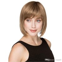 Wholesale super human hair wigs online - Fashion Beauty Women Daily Soft Super Natural Real Human Hair Synthetic Fiber Short Wig Cosplay Party Pub Full Hair