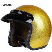 Wholesale motorcycle helmets gold resale online - Hot Sale Unisex Vintage Motorcycle Helmets Open Face Half Motorbike Helmet Capacete S M L XL XXL size gold color