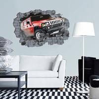 kostenlose 3d bilder großhandel-Freies Verschiffen Super Große Große Kreative 3D Auto Wandaufkleber Pvc Tapetenrollen Wandbild Für Schlafzimmer Wohnkultur 70 * 100 Cm