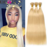 28 zoll blonde erweiterungen großhandel-Glattes Haar Bundles 613 Blonde Bundles Malaysisches / Peruanisches Haar Raw Virgin Indian Remy Haarverlängerung 3 Bundle Deals 10-24 Zoll Beyo