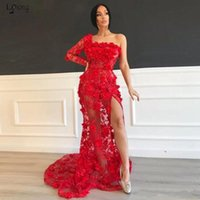 Wholesale red long evening gown lace for sale - Group buy Elegant Red Lace Prom Dresses Sexy One Shoulder High Split Evening Gowns African Girls Party Pageant Wears