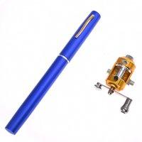 mini canetas de pesca caneta venda por atacado-Mini Bolso De Alumínio Liga De Pesca De Peixe De Viagem Caneta Forma Rod Pólo Azul
