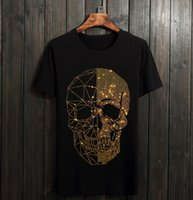 yapay elmas giyim toptan satış-Erkekler Rhinestones T Gömlek Pamuk% 100 Ç Yaka Kısa Kollu Slim Fit Tee Gömlek Homme Erkek Moda Giyim 01