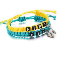 Wholesale paired key chain for sale - Group buy 2pcs pair Couple Rope Weaving Bracelets Hers His Letters Key Lock Rope Chains Lovers Gift Handmade Charm Bracelets Accessories Jewelry Gift