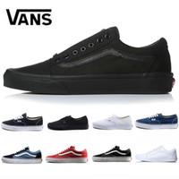 ingrosso scarpe da ginnastica nere-Cheap originale vecchia scuola paura di dio uomo donna tela sneakers nero bianco YACHT CLUB rosso blu moda skate scarpe casual