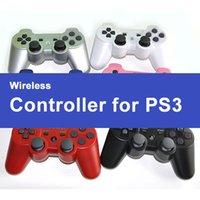 manejar consolas de juegos al por mayor-Nuevo controlador de gamepad inalámbrico de ps3 controlador de ps3 controlador de bluetooth de mano controlador de control inalámbrico con estuche para la consola de juegos de PS3