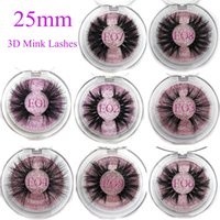 Wholesale label makeup resale online - 25mm False Eyelashes Thick Strip mm D Mink Lashes Custom Packaging Label Makeup Dramatic Long Mink Lashes