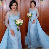 Wholesale baby blue chiffon long dresses for sale - Group buy African Baby Blue Prom Dresses Mermaid With Detachable Train Sheer Neck Appliques Long Sleeves Sweep Train Arabic Dubai Evening Party Gowns