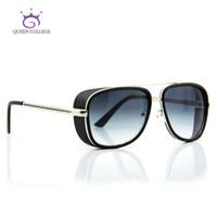 óculos de sol da faculdade da rainha venda por atacado-Atacado-Queen College Retail marca Frame Iron Man Downey óculos de sol dos homens óculos de sol óculos de sol 6 cores Oculos De Sol UV400 QC0075