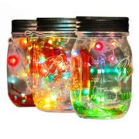 luz frasco ao ar livre venda por atacado-Solar Fariy Luzes Jar 20 LED de fadas Cordas Firefly vidro Mason Jar lanterna luzes for Wedding Party feriado do Natal Outdoor Garden Decor