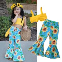 Wholesale flower speakers for sale - Group buy Baby Girl Sunflower Suit Toddler Girl Solid Sling Off Shoulder Bow Tube Tops Elastic Sunflower Printed Shorts Speaker Wide Leg Pants T