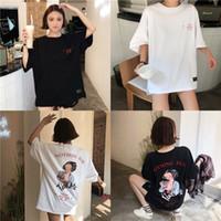 camisa de manga longa meio solta venda por atacado-T-shirt de manga curta solta de verão das mulheres longa carta de impressão de volta beleza retrato meia manga em torno do pescoço camisa