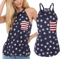 arkalıksız yaz tişörtler toptan satış-Kolsuz Amerikan Bayrağı T-shirt Kadın Yaz Baskılı Tee Gevşek Ilmek Backless Patchwork O-Boyun Sapan Gömlek OOA6904