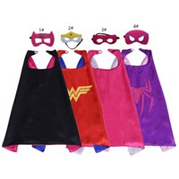 Wholesale superhero capes for kids for sale - Superhero Capes cm Cartoon Double layer Cape with Mask for Kids Christmas Halloween Cosplay Capes Prop Costumes